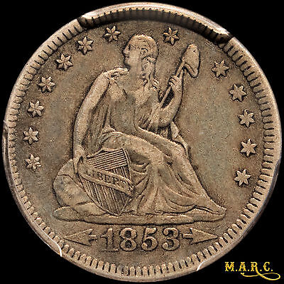 1853 VF35 PCGS 25C Seated Liberty Quarter, Arrows and Rays, Toning, F/S MARC