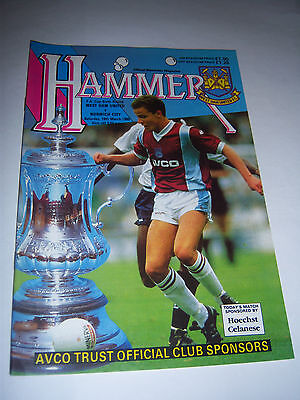 WEST HAM UNITED v NORWICH CITY 1988/89 - FA CUP 6TH ROUND - FOOTBALL PROGRAMME