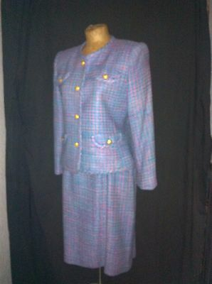 Vintage 1980's Light Blue Pink Silk Tweed Power Suit by Neiman-Marcus Size 8P