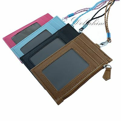 Multi Color PU Leather ID Holder with 4 card slots, zipper Purse and lanyard