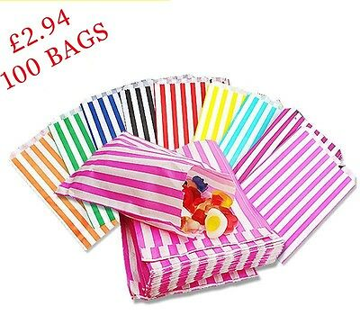 100 - Striped Candy Paper Bags For Sweet Favour Buffet Wedding Cake Gift Shop