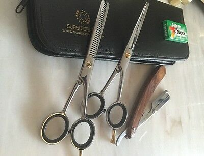 "Professional HAIRDRESSER Scissors and Thinning Set 6"" Silver with Razor 3 Set"