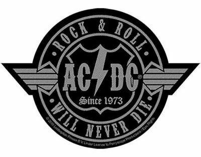AC/DC rock n roll will never die cut out 201- WOVEN SEW ON PATCH - free shipping