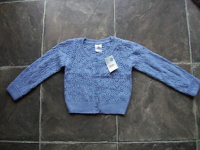 BNWT Girl's Pumpkin Patch Blue Lacey Knitted Cardigan Size 4