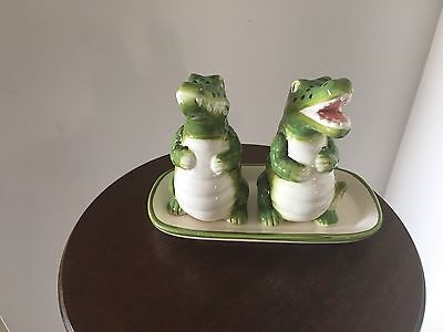 Vintage Crocodile Salt & Pepper Shakers and Dish