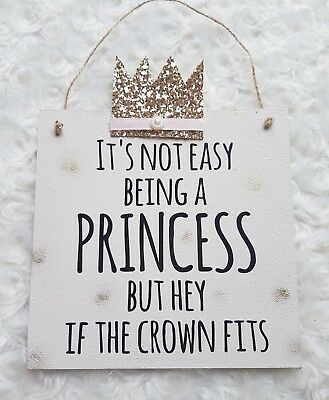 Princess girls pink and gold bedroom decoration metallic wall plaque sign