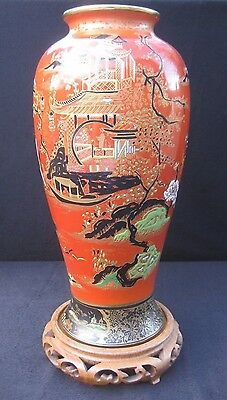 Large W&R Carlton Ware 'Temple' (2880) Pattern Vase on Chinese Stand. c1924