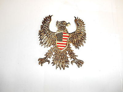 "Metal Rickman Eagle Stars And Stripes  Emblem  4 "" Wide 4 1/2"" High Fo15 -010 T"