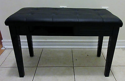 "29.5"" Padded Storage Piano Bench Double Seating. Faux Leather. Black colour"