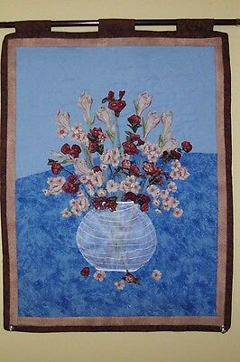 Fabric Art Floral Still Life Quilted Wall Hanging