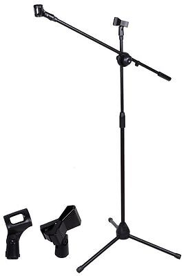 Microphone Stand, dual purpose, CAN CARRY TWO MIKES! comes with 2 clips!!
