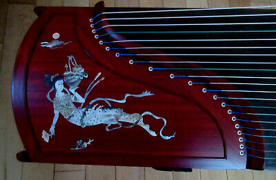 "Guzheng Full-size 64"" Red-Sandalwood ""Double Crane"" design. Free setup & tuned!!"