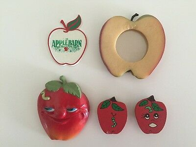 5 Vintage Apple Fruit Magnets Photo Frame Rubber Arjon Apple Barn Fridge Worms
