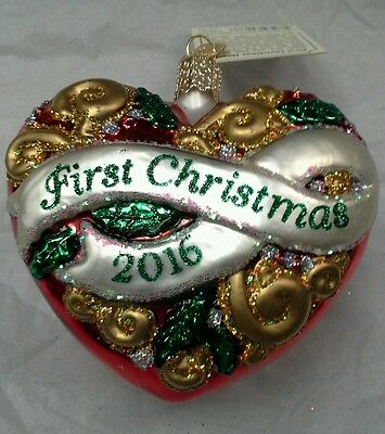 """Old World Christmas """"First Christmas Heart"""" 2016 Ornament-GLASS OWC 1st"""