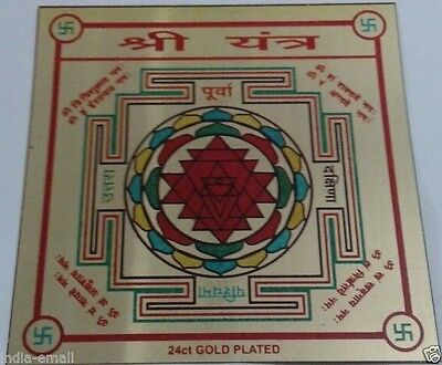 Sri Shree Shri Yantra Yantram Energized & Blessed 24 C GOLD PLATED Lowest Price