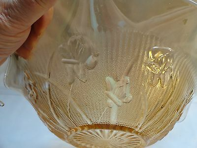 Vintage Jeanette Glass Fluted Bowl - Marigold Iris And Herringbone Pattern