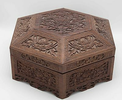 Chinese Antique Vintage 20th C Large Carved Wood Box