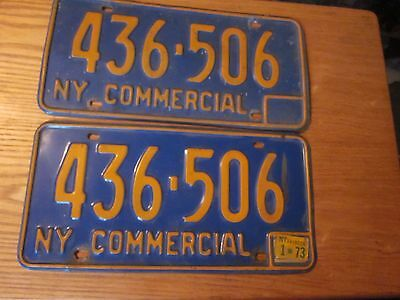 1966-73 New York State issued license plates # 436-506 1973 registration sticker