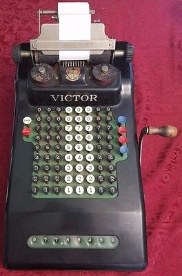 Antique Victor Adding Machine Calculator Nice Condition Great Graphics Working*