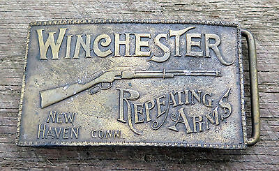 Winchester Rifle Guns Firearms Western 1970's Vintage Belt Buckle