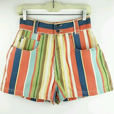 VTG Esprit Short Shorts 80s 90s Colorful Stripes Cotton Twill High Waist