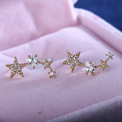 925 SILVER CLEAR CRYSTAL Unbalanced irregularity star stud ear climbers earrings