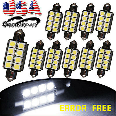 10X White 42mm 8SMD Led Canbus Error Free Festoon Map Dome Door Interior Lights