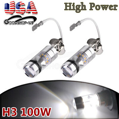 2x H3  Super Bright White LED High Power 100W 2323 Fog driving DRL Light Bulbs