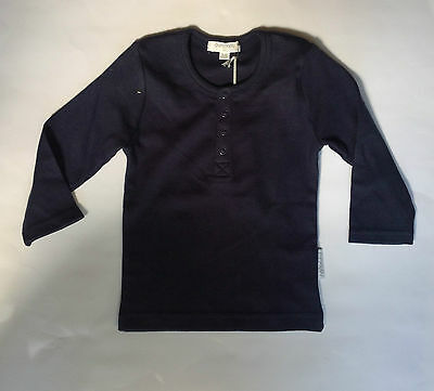 Baby Top Long Sleeve Navy Henly New Size 00 3-6 Months Organic Cotton Reduced