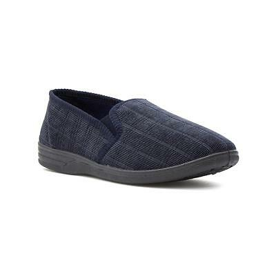 The Slipper Company - Mens Navy Cord Slipper - Sizes 6,7,8,9,10,11,12