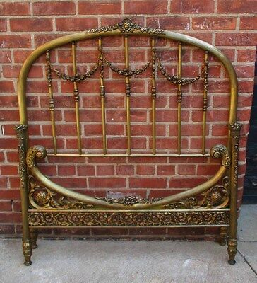 Ornate Antique 1800's Solid Brass Bed - Cast Brass Floral Swag (Twin)