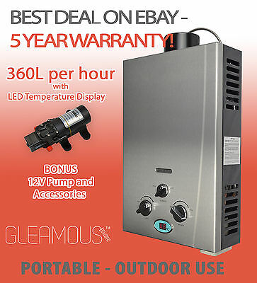 Gleamous Instant LPG Portable Gas Hot Water Camp Shower Heater 4WD Caravan Horse