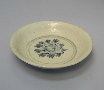 Antique Chinese Monochrome Porcelain Plate / Dish / Bowl - Floral Design, 1900's