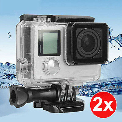 2x Professional Waterproof Diving Protective Housing Clear Case GoPro Hero 3 3+4