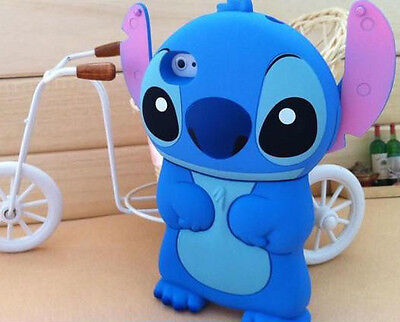 for iPod Touch 4th Generation - Blue STITCH Soft Rubber Silicone Skin Case Cover