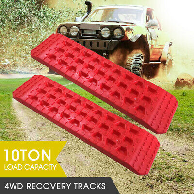 Pair 4WD Recovery Tracks 10T Off Road 4x4 Snow Mud Sand Track 10 ton Red AU