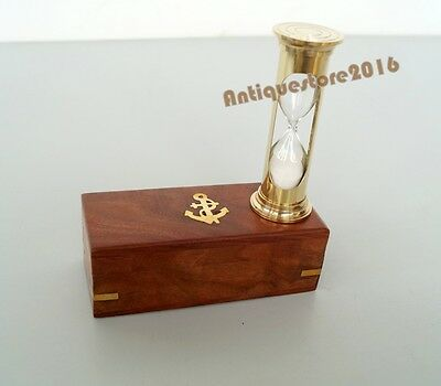 Nautical Antique Hourglass Maritime Golden Finish Brass With Anchor Wooden Box..