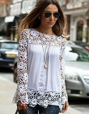 Women Ladies Long Sleeve Shirt Hollow out Flowers Lace Chiffon Blouse Tee Tops
