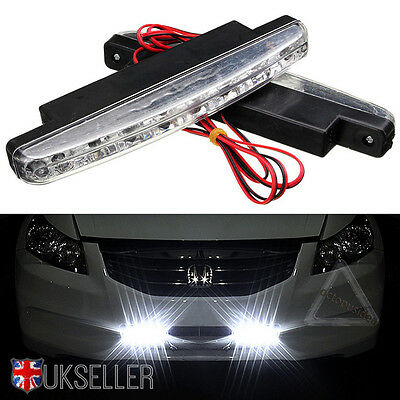 2X 8 LED Daytime Running Lights Car Driving DRL Fog Lamp Light Super White 12V