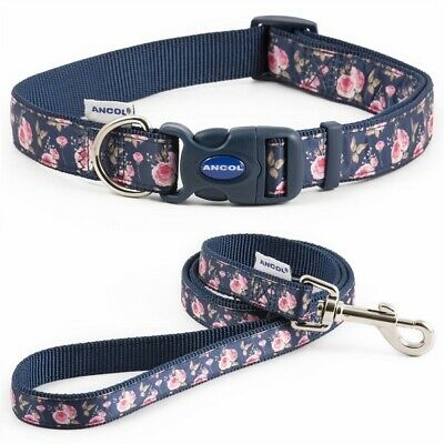 Ancol Navy Rose Adjustable Dog Collar or Lead - Puppy Nylon Snap-Buckle Fashion