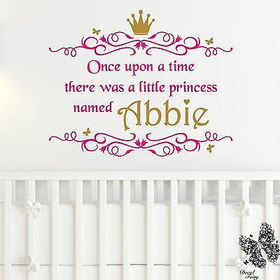 Wall Sticker Princess Personalised Name Once upon a time Girls Vinyl Decal