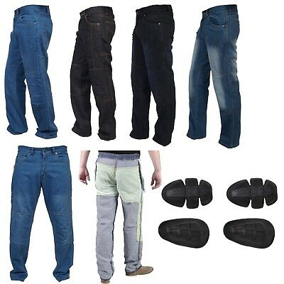 Mens Motorbike Jeans Motorcycle Denim Trousers with Aramid Protective Lining