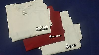 3 Pack HKS BREMBO EXEDY T-Shirt Adult 1 of each White Red JDM Racing