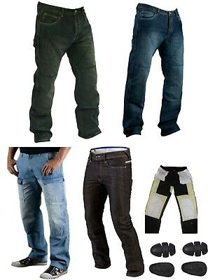Classic Mens Motorbike Motorcycle Denim Trousers Jeans with Protective Lining