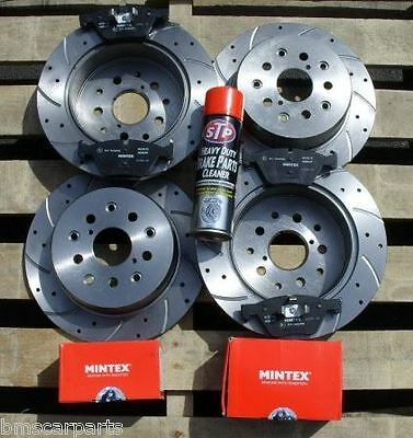 Vw Transporter T5 Front & Rear Drilled And Grooved Brake Discs & Mintex Pads New