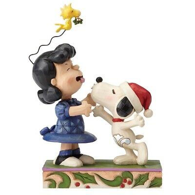 "Jim Shore N° 4052720 PEANUTS Skulptur ""Snoopy Kissing Lucy Under Mistletoe"" NEU!"