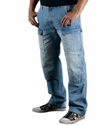 Mens Motorbike Blue Cargo Motorcycle Denim Trousers Jeans Protective Lining