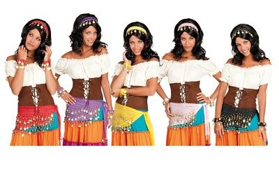 Adult Gypsy 4 Piece Set with Headband, Bracelet & Belt Fancy Dress Accessory