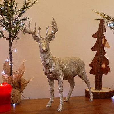 Reindeer Stag with Large Antlers Ornament Resin Deer Silver Sculpture Home Decor