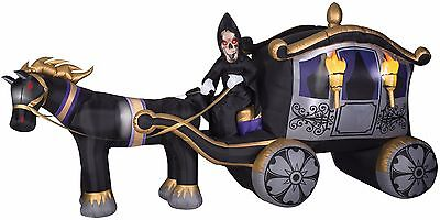Inflatable Reaper With Coach Halloween Yard Decor Prop